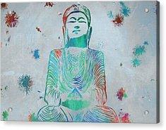 Sitting Buddha Paint Splatter Acrylic Print by Dan Sproul