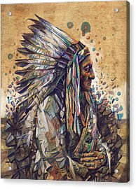 Sitting Bull Decorative Portrait 2 Acrylic Print