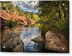 Acrylic Print featuring the photograph Sitting Creekside Oak Creek  by Saija Lehtonen