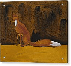 Sitting Fox In Iron Oxide And Lime Acrylic Print by Sophy White