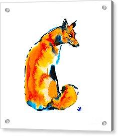 Acrylic Print featuring the painting Sitting Fox by Zaira Dzhaubaeva