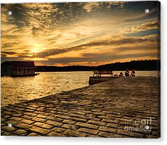 Sitting On The Dock Of The Lake Acrylic Print by Mark Miller
