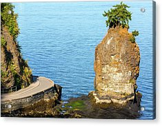 Siwash Rock By Stanley Park Seawall Acrylic Print by David Gn