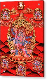 Six-armed Winged Mahakala In Yab Yum Acrylic Print by Lanjee Chee