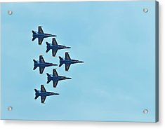 Six Blue Angels In The Clear Blue Sky Acrylic Print