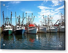 Acrylic Print featuring the photograph Six Boats In The Bay by John Rizzuto