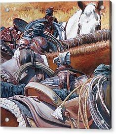 Six Roping Horses Acrylic Print