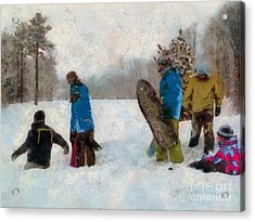 Six Sledders In The Snow Acrylic Print