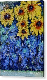Six Sunflowers On Blue Acrylic Print by Claire Bull