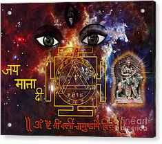 Skanda Mata And Durga Bisa Yantra Acrylic Print by Artist Nandika  Dutt