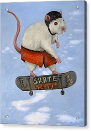 Skate Rat Acrylic Print by Leah Saulnier The Painting Maniac