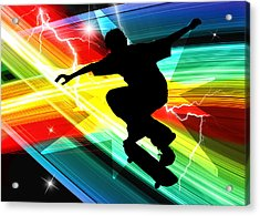 Skateboarder In Criss Cross Lightning Acrylic Print