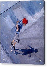 Acrylic Print featuring the painting Skateboarding by Quwatha Valentine