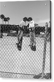Skateboards Hanging Out Acrylic Print by WaLdEmAr BoRrErO