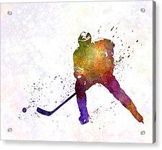 Skater Of Hockey In Watercolor Acrylic Print
