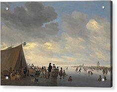 Skaters On The Frozen River Lek, The Town Of Vianen Beyond Acrylic Print by Salomon van Ruisdael or Ruysdael