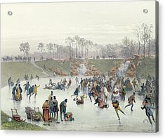 Skaters On The Lake At Bois De Boulogne Acrylic Print by Ice Skaters on the Lake at Bois de Boulogne