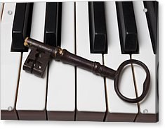 Skeleton Key On Piano Keys Acrylic Print by Garry Gay