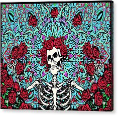 skeleton With Roses Acrylic Print by Gd