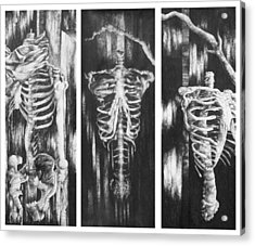 Skeletons In Black Acrylic Print by Nathan Bishop