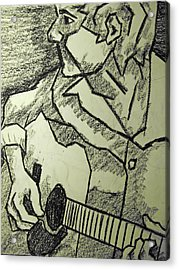 Sketch - Guitar Man Acrylic Print by Kamil Swiatek