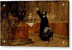 Sketch For Columbus Before The Council Of Salamanca Acrylic Print by William Merritt Chase