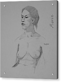 Acrylic Print featuring the drawing Sketch For Marie Seated by Ray Agius