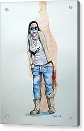 Acrylic Print featuring the painting Sketch For Meh by Ray Agius