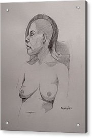 Acrylic Print featuring the drawing Sketch For Sitting Cassie by Ray Agius