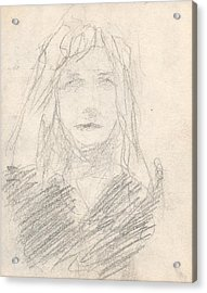 Sketch Of A Girl Acrylic Print by T Ezell