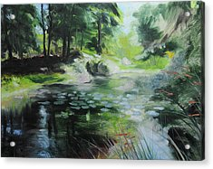 Sketch Of A Pond At Port Meirion Acrylic Print by Harry Robertson