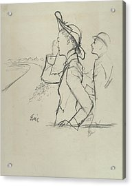 Sketch Of A Woman And Man Wearing Hats Acrylic Print