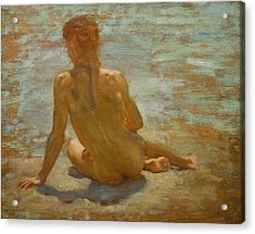 Sketch Of Nude Youth Study For Morning Spelendour Acrylic Print by Henry Scott Tuke