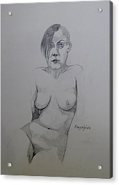 Acrylic Print featuring the drawing Sketch Reclining Cassie by Ray Agius