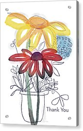 Sketchbook Flowers Thank You- Art By Linda Woods Acrylic Print by Linda Woods