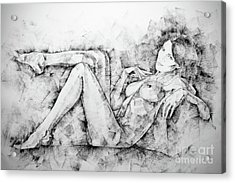 Sketchbook Page 46 Drawing Woman Classical Sitting Pose Acrylic Print
