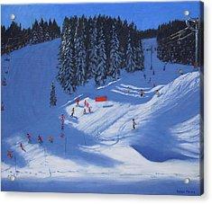 Ski School Morzine Acrylic Print by Andrew Macara