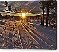 Ski Trails With Sun Beams Acrylic Print
