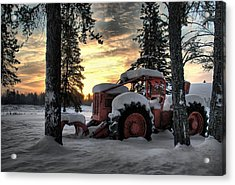 Skidder Sunrise Acrylic Print by Heather  Rivet