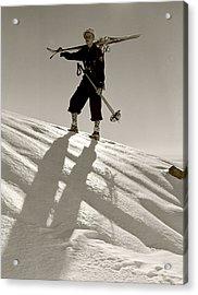 Skier Acrylic Print by Unknown