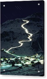 Skiers Bearing Torches Ski Down Mont Acrylic Print by George F. Mobley
