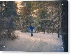 Skiing Borderland In Afternoon Light Acrylic Print