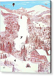 Skiing Deer Valley Utah Acrylic Print by Richard W Linford
