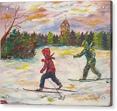 Skiing In The Park Acrylic Print by Naomi Gerrard
