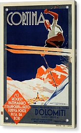 Skiing On The Alps In Cortina - Ice Hockey Tournament - Vintage Advertising Poster Acrylic Print