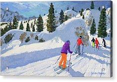 Skiing, Rock City, Selva Gardena, Italy Acrylic Print by Andrew Macara