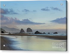 Skimming Along The Beach At Sunset Acrylic Print