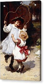 Skipping Acrylic Print by Frederick Morgan