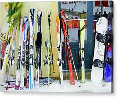 Acrylic Print featuring the photograph Skis By The Window. by Rob Huntley