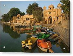Skn 1391 A Visit To Gadisar Lake Acrylic Print by Sunil Kapadia